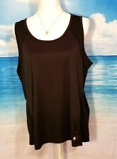 TEK GEAR Womans STRETCH ATHLETIC top BLACK Tunic Shirt Loose Fit size XL