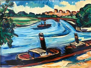 Barges on the Seine River, France Oil Painting-1950s-Maxim Bugzester