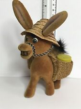 Vintage Flocked Donkey With Hat And Saddle Bag Barrel Salt & Pepper Shakers