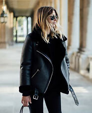 Acne StyleOversized Moto Aviator Faux Leather Shearling Biker Jacket BLACK S