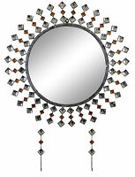 Elegant Bejeweled Silver and Copper Studs Round Wall Mirror
