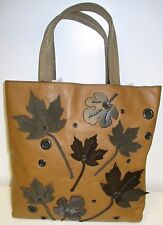 PRADA Brown  Open Tote with Suede & Patent Leather Leaves on Front