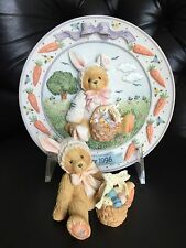 "1993 Cherished Teddies ""Bessie"" and 1996 Cherished Teddies ""Easter 1996"" Plate"