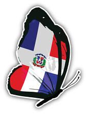 Dominican Republic Flag Butterfly Car Bumper Sticker Decal 4'' x 5''