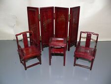 Vintage 1/10 Scale Miniatures Furniture Chair+ Desk Dollhouse Wooden HandCrafted