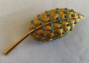 Vintage Italian 18K Gold Brooch, Feather/Leaf with Turquoise beads, 10.5 g