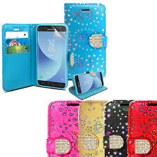 Crystal Bling Diamond  Flip Wallet Leather Case Cover For Samsung Galaxy S8