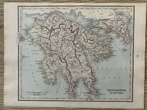 1853 Ancient Southern Greece Hand Coloured Antique Map by Alexander Findlay