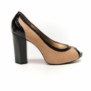 DIANE VON FURSTENBERG DVF Shoes Camel Hair Black Heel Size US 8 / UK 6 RC 29