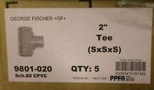 "New listing (Box of 5) 2"" Tee Gf Cpvc Sch 80 P/N 9801-020"