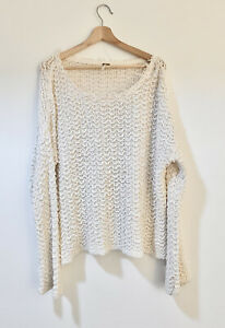 Free People White Sweater Pullover Sz Sm Can Be Medium