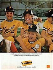 1975 Girl boy's baseball team Kodak camera film vintage photo Print Ad ads35