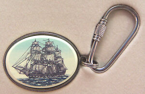 Key Ring Barlow Photo Reproduction in Color Constitution Sailing Ship 302203c