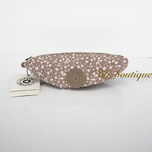 NWT Kipling KI0763 Anthony Small Accessory Pouch Polyester Dainty Daisies Beige