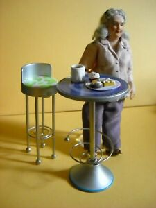 """DOLLHOUSE MINIATURE CAFE TABLE, STOOL AND """"MARGE"""""""
