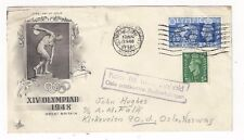 1948 Great Britain, KGVI 2 1/2d Olympics, Cacheted to Norway SCARCE DESTINATION