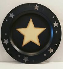 Rustic Star Candle Holder Metal Plate Hobby Lobby 2010 Blue Cream Folk Country