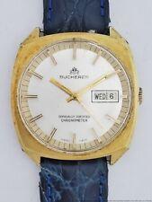 Huge Vintage Bucherer Chronometer Automatic Day Date Mens Running Swiss Watch