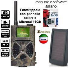 FOTOTRAPPOLA MIMETICA SPIA VIDEOCAMERA MMS -MAIL- PANNELLO SOLARE - 12MP HD
