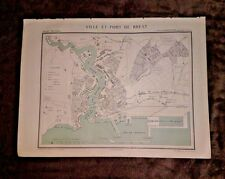Vintage Map BREST FRANCE from the National Atlas Artheme Fayard Ville et Port