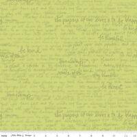 Into the garden Text Green Riley Blake Fabric FQ 50cm X 55cm +More 100% Cotton