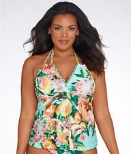BECCA Swimsuit Bikini Top Plus Size 0X (14-16)  High Tea Tankini