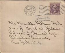 1937 USA cover sent from Washington DC to Columbia University New York