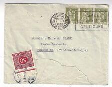 1939 Paris France to Prague Czechoslovakia, Postage Due