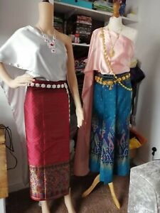 Thai Dress Silk Synthetic Traditional Skirt Cloth Costume Including Jewellery