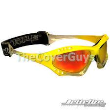 Jettribe Jet Ski Pro-Series PWC Goggles Yellow Fade Frame/Revo Lens + Case