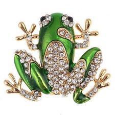 on Card Frog Green Enamel & Clear Crystal Gold Metal Brooch Approx 3cmx3cm