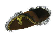 BROWN TRICORN MERCHANT LACED FANCY DRESS HAT