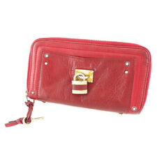 Chloe Wallet Purse Paddington Red Gold Woman unisex Authentic Used T5096