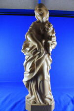 62718 - Holz Madonna Mutter Gottes mit Jesus Kind Holz geschnitzt 52 cm Sign. CW