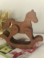 HORSE ROCKING WOODEN TOY DECOR VINTAGE 9Hx10W Inches handcrafted.