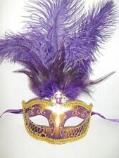 Purple Gold Feather Mask Masquerade Mardi Gras Jewel Mask 12""