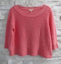 Eileen Fisher Flamingo Pink Linen Knit Ballet Neck 3/4 Sleeve Sweater S
