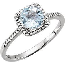 Natural Aquamarine Round Gemstone & Diamonds Ring 925 Sterling Silver Sz 5-8  US