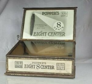 Antique Popper Eight Center Cigars Tin Store Counter Display Case 8 Cents