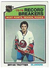 1976-77 TOPPS HOCKEY #67 BRYAN TROTTIER RECORD BREAKER - VG+/EX-