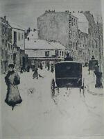 Paris, superbe eau-forte XIXème N. Goeneutte Boulevard de Clichy sous la neige