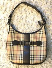 Burberry Brown Haymarket Check Coated Canvas Hobo Bag