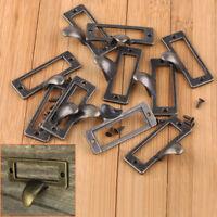 10x Antique Brass Drawer Label Pull Cabinet Frame Handle File Name Card Holder