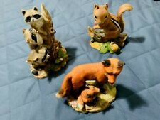 3 Homco Masterpiece Porcelain Figurines - Squirrel. Fox. Racoon. Near Perfect