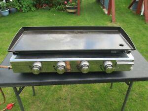 4 Burners LPG Gas Griddle Plancha 84cm x 34cm Outdoor Grill Enamelled Cast Plate