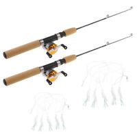 2Packs Ice Fishing Rod with Fishing Reel Combo Spinning Ice Fishing Pole 75cm
