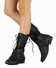 NEW 6..5 BLACK MID CALF COMBAT RIDDING LACE UP STRAP WOMAN BOOT LOW HEEL SHOE C7