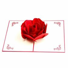 3D Pop up Rose Thank You Greeting Postcards Happy Birthday Love Gift Card