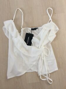 Pretty Little Thing Womens White Pebble Chiffon Frill Cami Top Size 10 Bnwt