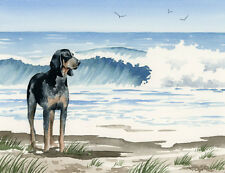 """Bluetick Coonhound at the Beach"" Watercolor Dog Art Print Signed by Artist Djr"